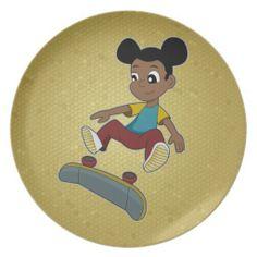 Skateboarding girl cartoon plate