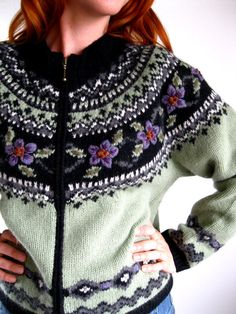 Green Black Nordic Cardigan Sweater Woodland Ski от gogovintage