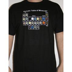 T-shirt Minecraft Tableau périodique pour les fans du jeu vidéo