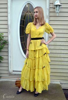 Yellow 30's 40's Dress / Ruffle Linen Velvet Bows by CurioVNTG, $250.00