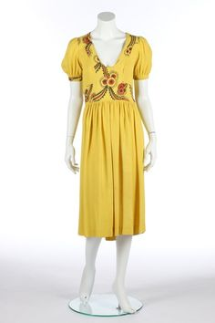 An Ossie Clark/Celia Birtwell yellow moss crêpe dress, mid with Ossie Clark Radley label, size with Floati. on Jun 2014 70s Fashion, Fashion History, Fashion Dresses, Vintage Fashion, Vintage Style, Celia Birtwell, Ossie Clark, Beautiful Dresses, Beautiful Clothes
