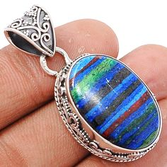 Rainbow Calsilica 925 Sterling Silver Pendant Jewelry RBCP599…
