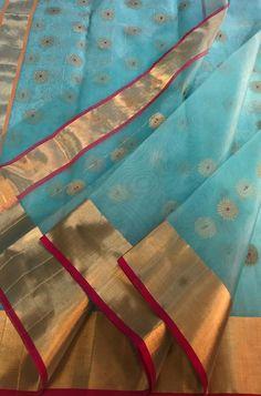 Shop more Handloom Chanderi Saree at Luxurionworld. Gold Silk Saree, Wedding Silk Saree, Pure Silk Sarees, Banaras Sarees, Chanderi Silk Saree, Kalamkari Saree, Simple Saree Designs, Simple Sarees, Mirror Work Blouse Design