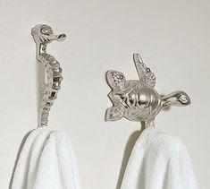 Seahorse and Turtle Hooks #potterybarn For Bathroom -cute