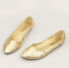 Mulheres sapatos sapatos femininos prata ouro tecer outono ballet flats para mulheres de salto plana sapatos AS003