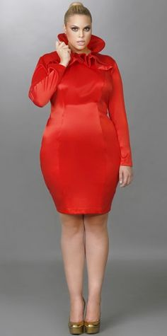 "Monif C Plus sizes Fall 2012: ""Camille"" HIgh Ruffle Neck Dress So cute"