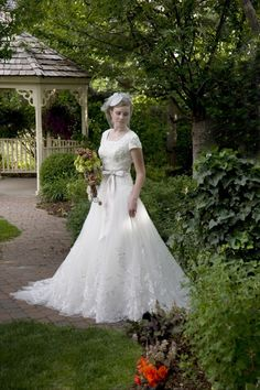 Modest lace and tulle ball gown