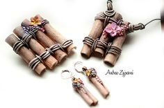 Bambus sticks with flowers and ropes...set of brooche, earrings and pendant
