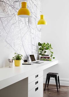 Monochrome study with pops of yellow | Home Beautiful Magazine Australia