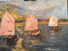 Opti sailing in Manteo Harbor. Da girls  Private Collection