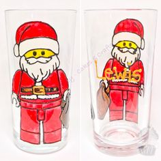 Lego Father Christmas glass x
