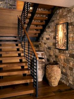 50 Amazing And Unique Staircase Design Ideas Exposed brick wall & open industrial staircase Future House, My House, Space Saving Staircase, Rustic Stairs, Modern Stairs, Rustic Basement, Industrial Stairs, Rustic Walls, Escalier Design