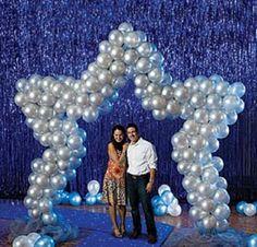 Proms, blue, star balloon arch