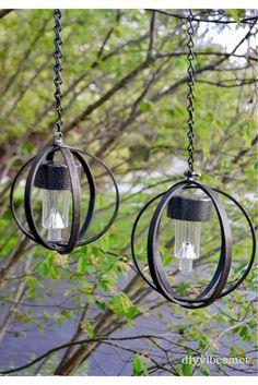 Diy Solar, Solar Light Crafts, Outdoor Chandelier, Outdoor Lighting, Outdoor Hanging Lights, Solar Lights For Deck, Outdoor Lamps, Lighting For Gardens, Lights For Backyard