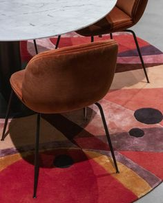 DAHLIA is inspired by the colors of the wild and delicate flower, and also inspired by modern architecture and 1930s functionalism through geometric and flowing shapes. The design depicts the urban vibe in an abstract pattern. The color scheme interlaces brick reds, auburn, dark maroons, plum purples. Dashes of cadmium orange and pitch black accentuate the overall warm tone scale of this design.  Design: Dagny Thurmann-Moe & Ksenia Stanishevski Functionalism, Plum Purple, Abstract Pattern, Design Design, Auburn, Dahlia, Pitch, Modern Architecture, 1930s