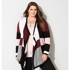 Avenue Plus Size Merlot Colorblock Cardigan ($65) ❤ liked on Polyvore featuring tops, cardigans, merlot, plus size, color block tops, long cardigan, long tops, plus size long cardigan and plus size cardigans