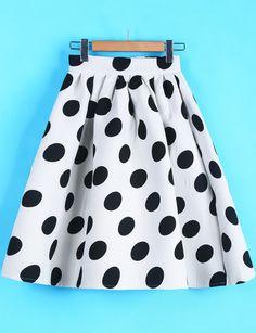 White Polka Dot Flare Skirt - Sheinside.com Mobile Site