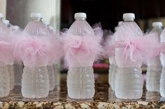 "The Sweatman Family: ""Tutu Thrilled"" Baby Shower tulle even decorates the water bottles!"