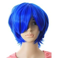 Capless Top Grade Quality Synthetic Blue Color Short Hair wig - USD $ 19.99