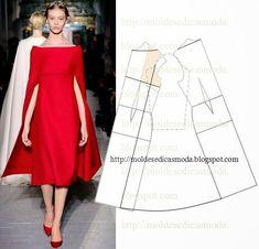 Выкройка платья с кейпом от Valentino (и другие варианты)