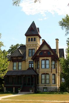 The Henry Sherry House in Neenah, Wisconsin was built in 1883 & is an example of Victorian Gothic architecture. The house was built with electricity. Henry Sherry was one of Wisconsin's best-known lumbermen. He was responsible for much of Neenah's residential and commercial development