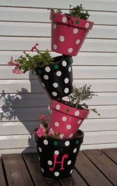Polka Dot Flower Pots - Stacked
