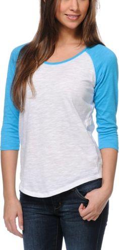 Zine Girls Raglan Blue & White Baseball Tee Shirt $14.99