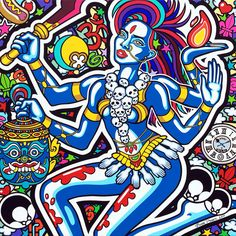 "Oxana Prantl - ""The Goddess Kali"" - 100 x 100 cm, acrylic painting on canvas. Pretty Art, Acrylic Painting Canvas, Spiderman, Comic Books, Superhero, Comics, Pop Art, Fictional Characters, Spider Man"