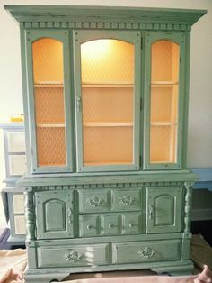 Lighted China Cabinet with chicken wire doors