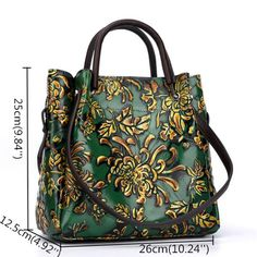 Brenice Women Vintage Genuine Leather Bags Printing Flowers Handbags  National Style Women Bags is designer 642a906269eb0