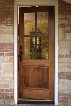 Custom Walnut 4 Lite/single Raised Panel Exterior Entry Door.