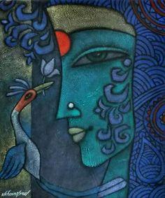 Ideas Black Art Painting Woman Colour For 2019 Black Art Painting, Fabric Painting, Figure Painting, Painting & Drawing, Madhubani Art, Madhubani Painting, Krishna Painting, Krishna Art, Arte Shiva