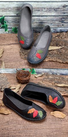 US$31.85 SOCOFY Leaves Pattern Genuine Leather Soft Flat Lazy Shoes