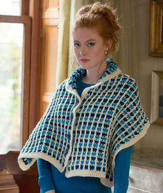 Buttoned Shawl Free Crochet Pattern from Red Heart Yarns