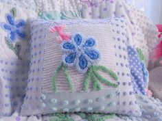Chenille Patchwork Pillow made from recycled bedspreads.