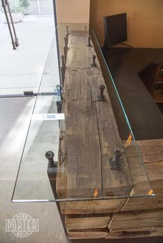 Porter Barn Wood: Reception Desk - Hand Hewn Beams