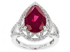 3.40ct Pear Shape Lab Created Ruby And .51ctw Round White Zircon Sterl