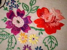 Stunning VINTAGE Linen FLORAL Tablecloth TRELLIS Hand Embroidered EXQUISITE