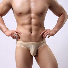 2017 New men's low-waist briefs modal Ice silk no trace sexy gay men underwear u convex design brave underpants men wholesale