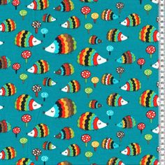 # Stretch Jersey Knit Fabric - Petrol Hedgehogs 95% Cotton 5% Elastane HalfMetre in Crafts, Sewing & Fabric, Fabric | eBay