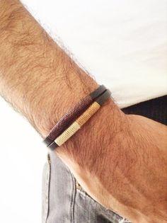 Leather mens bracelet, Bohemian Leather Bracelet, Unisex leather cuff, Black Leather Wristband, Wax cord, Mens leather color bracelet #etsy #trendy