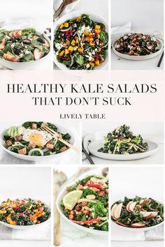 Kale Salad Recipes, Salad Dressing Recipes, Vegetarian Recipes, Kale Salads, Healthy Recipes, Vegetable Recipes, Delicious Recipes, Healthy Side Dishes, Side Dishes Easy