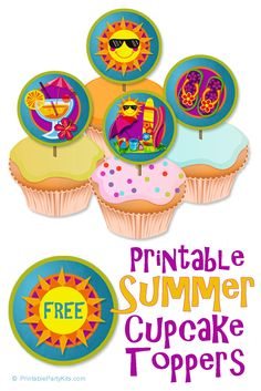 FREE Printable Summer Cupcake Toppers