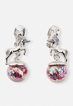 Unicorn Shaky Globe Clip-On Earrings | Justice