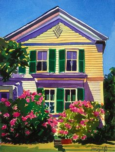 ''Summer House'' - by Jean Segaloff. Home Landscape Art, Watercolor Landscape, Watercolor Art, Cottage Art, Cottage In The Woods, Conch House, Kitsch, Naive Art, Diy Arts And Crafts