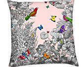 Love Letters Birds Keys Butterflies Vintage Style Cushion Pillow Cover Home Decor Pillow Cover Cushion Cover Accent Pillow Cover. $52.99, via Etsy.