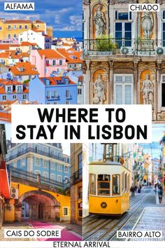 Planning to travel Lisbon? Here is a guide to the best Lisbon neighborhoods and where to stay in Lisbon, from Alfama to Bairro Alto to Principe Real to Chiado to Cais do Sodre & beyond. Whether you want to be near the best things to do in Lisbon, the best Portugal Travel Guide, Europe Travel Guide, Europe Destinations, Portugal Vacation, Portugal Trip, Greece Vacation, Travelling Tips, Vacation Spots, Vacation Ideas