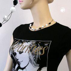 Collier, Perle weiß mit Fäden schwarz