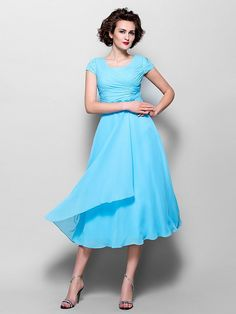 23cbafcc47e A-Line Jewel Neck Tea Length Chiffon Mother of the Bride Dress with Beading    Side Draping by LAN TING BRIDE®