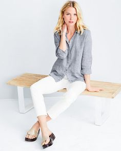 Woven in Ireland, this crisp yet airy linen shirt by Eileen Fisher is the epitome of casual comfort in inherently cool organic linen. The boxy shape layers beautifully.